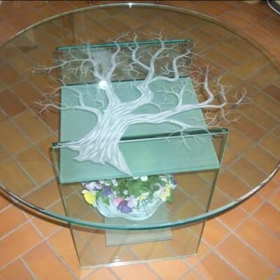 Glastisch + Sandstrahlung